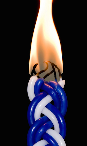 Havdala candle burning brightly